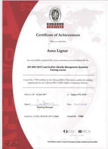 Anna Lignar - Certificate of Achievement. Wykładowca, trener - szkolenia i kursy