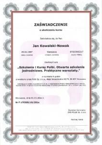 Zaświadczenie, dyplom, certyfikat ze szkolenia, druk MEN, wzór dokumentu.
